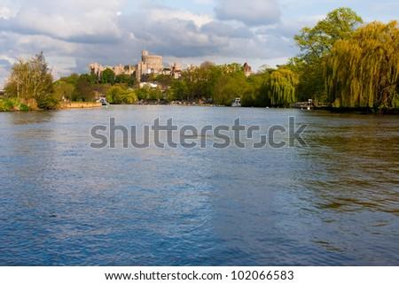 Windsor Castle as viewed from across the River Thames