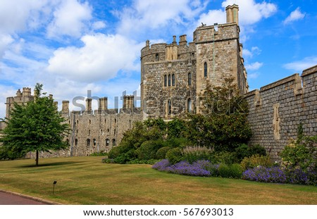 Windsor Castle with blue sky  and park