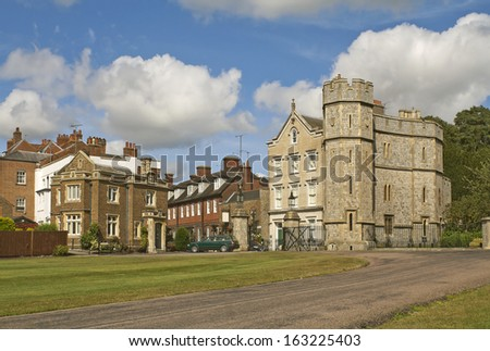 WINDSOR, ENGLAND - AUGUST 28: A view of old buildings in Windsor, Berkshire in August 28, 2012
