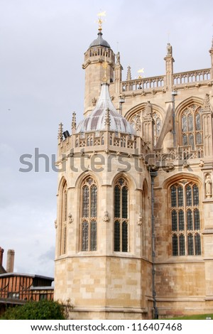 WINDSOR, ENGLAND -- CIRCA 2012: October 23, 2012 is the 370th anniversary of Parliamentary forces plundering the chapel at Windsor Castle in the English Civil War. Site of Order of the Garter. - stock photo