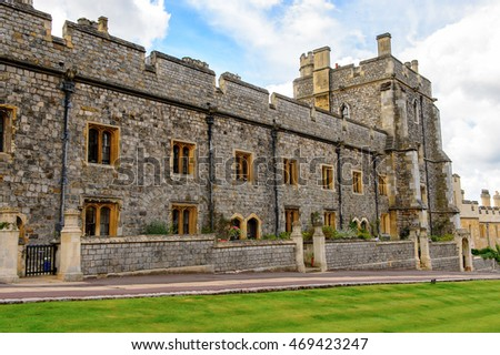 WINDSOR, ENGLAND - JULY 21, 2016: Lower Ward, Windsor Castle, Berkshire, England. Official Residence of Her Majesty The Queen