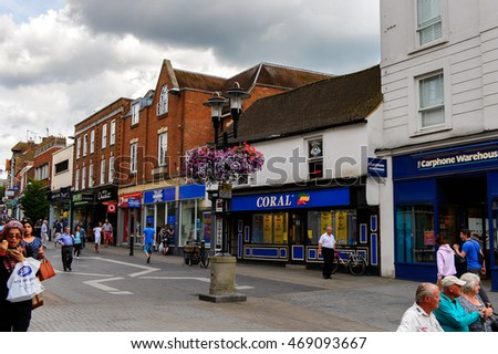 WINDSOR, ENGLAND - JULY 21, 2016: Shopping area in Windsor,a town in the Royal Borough of Windsor and Maidenhead in Berkshire, England