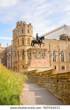 WINDSOR, ENGLAND - JULY 21, 2016: South Wing of the Upper Ward, Windsor Castle, Berkshire, England. Official Residence of Her Majesty The Queen