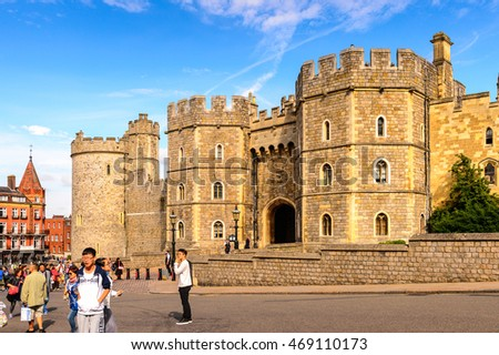 WINDSOR, ENGLAND - JULY 21, 2016: Windsor Castle, Berkshire, England. Official Residence of Her Majesty The Queen
