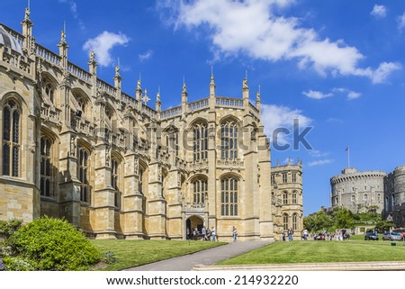 WINDSOR, ENGLAND - MAY 27, 2013: St. George Chapel (early 16th century) in Medieval Windsor Castle. Windsor Castle is a royal residence at Windsor in the English county of Berkshire. - stock photo