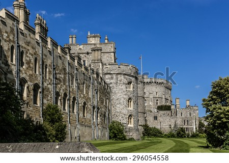 WINDSOR, ENGLAND - MAY 27, 2013: View of Medieval Windsor Castle. Windsor Castle is a royal residence at Windsor in the English county of Berkshire.