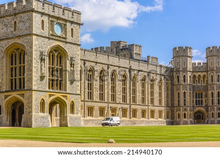 WINDSOR, ENGLAND - MAY 27, 2013: View of Upper Ward (Quadrangle) in Medieval Windsor Castle. Windsor Castle is a royal residence at Windsor in the English county of Berkshire. - stock photo