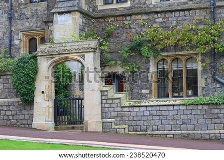 WINDSOR, ENGLAND - OCTOBER 15, 2014: The Royal Apartments in Windsor Castle. It is widely known as site of Windsor Castle, British Royal Family official residences. - stock photo