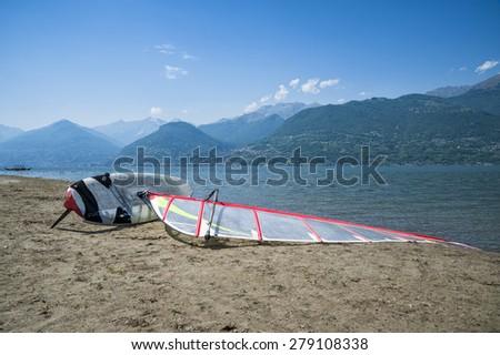 Windsurf on a beach - stock photo