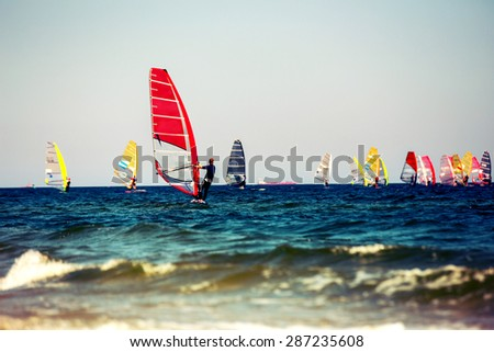 Windsurfers. Instagram effect - stock photo