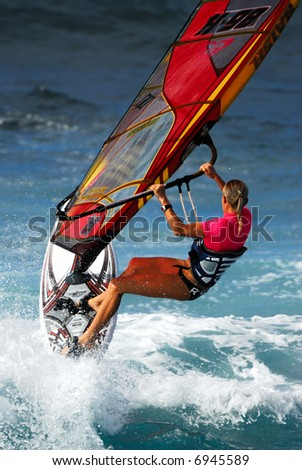 Windsurfing at Hookipa Beach Park Maui Hawaii