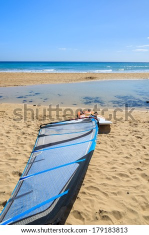 Windsurfing board on sandy beach of Morro Jable, Fuerteventura, Canary Islands, Spain