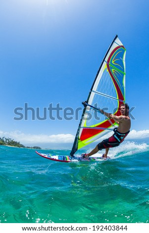 Windsurfing, Fun in the ocean, Extreme Sport - stock photo