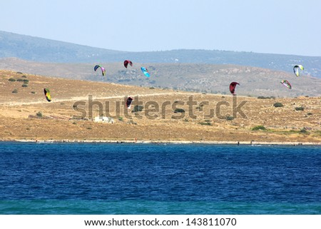 Windsurfing in Alacati, Cesme, Turkey - stock photo
