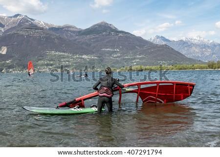 Windsurfing on Lake Como - stock photo