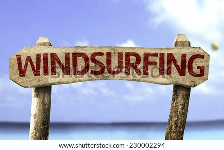 Windsurfing sign with a beach on background - stock photo