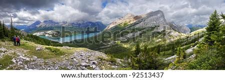 Windtower Peak Hike, looking at Spray Lake, Near Canmore, Alberta, Canada  Panoramic View. - stock photo