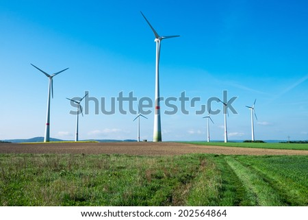 Windwheels in the fields