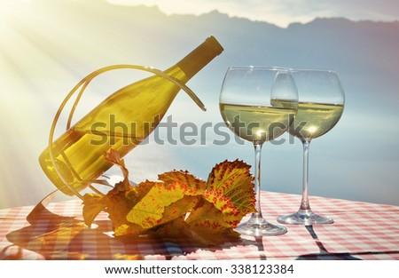 Wine against Geneva lake. Lavaux, Switzerland  - stock photo