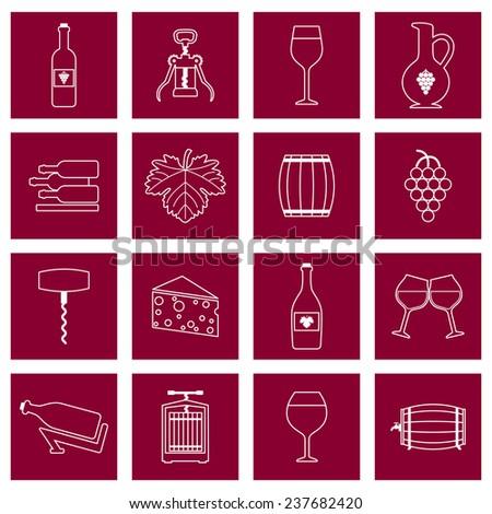 Wine alcohol drink outline icons set of wineglass bottle isolated  illustration - stock photo