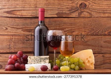 Wine and cheese. Flat mock up for design. - stock photo