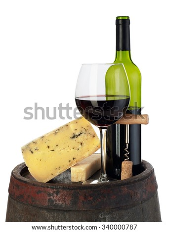 Wine and cheese on barrel