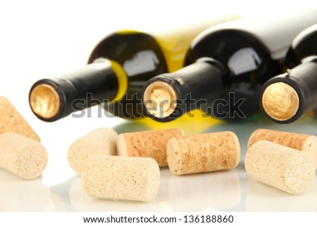Wine and corks close up - stock photo