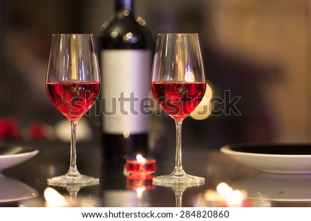 Wine and dine setting.  - stock photo