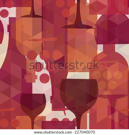 Wine and drink abstract seamless pattern illustration background with bottles, glasses and grapes.  - stock photo