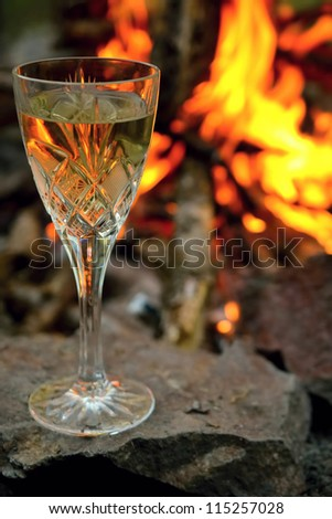 Wine and fire - stock photo