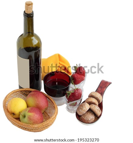 Wine and fruit.