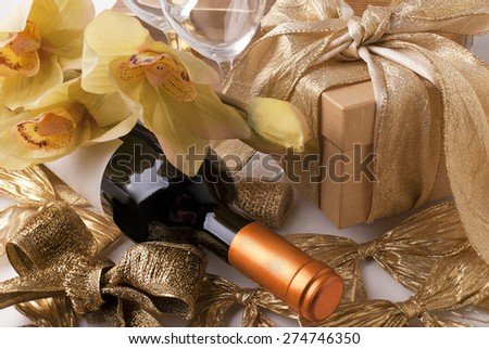 Wine and gift - stock photo