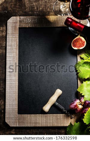 Wine and grape background with space for text - stock photo