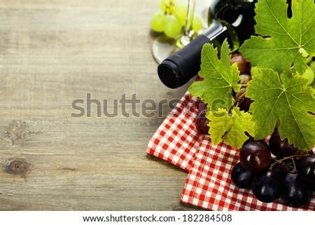 Wine and grape close up image - stock photo