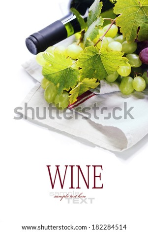 Wine and grape close up image. With easy removable sample text - stock photo