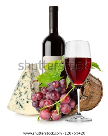 Wine and grape in basket isolated on white background - stock photo