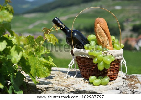 Wine and grapes in a basket