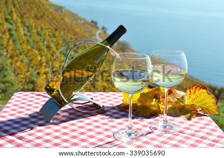 Wine and grapes. Lavaux, Switzerland - stock photo