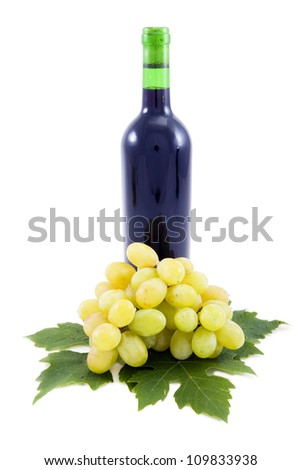Wine and grapes, the leaves decoratively presented.