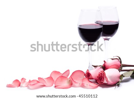 Wine and roses, isolated - stock photo