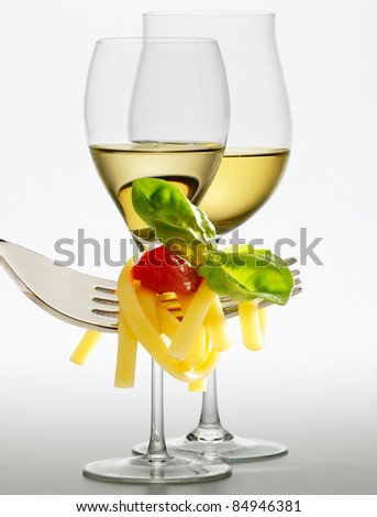 Wine and spaghetti