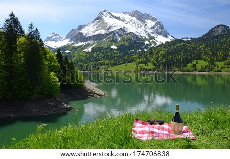 Wine and vegetables served at a picnic in Alpine meadow. Switzerland  - stock photo