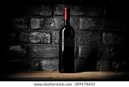 Wine and wall of bricks