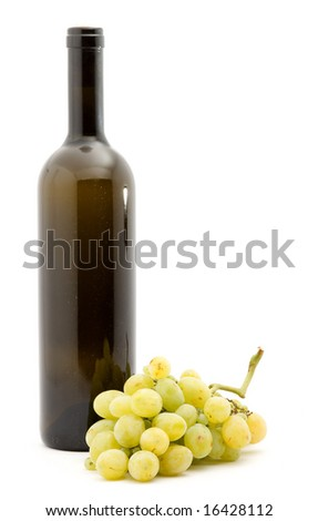 wine and white grapes studio isolated