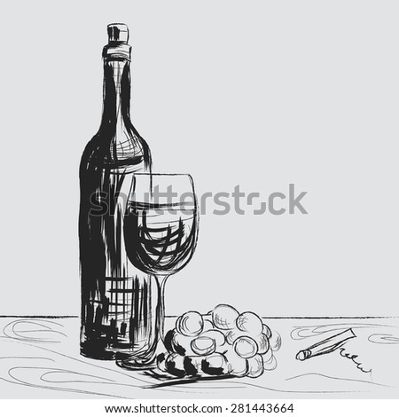 Wine, art design - stock photo
