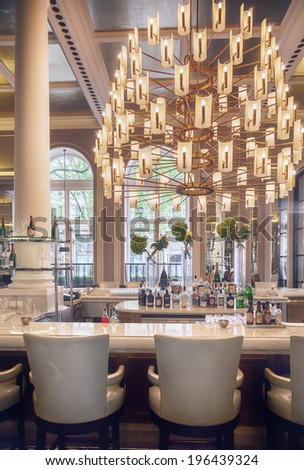 wine bar in luxury restaurant  - stock photo