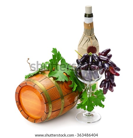 wine barrel, bottle and glass isolated on a white background - stock photo