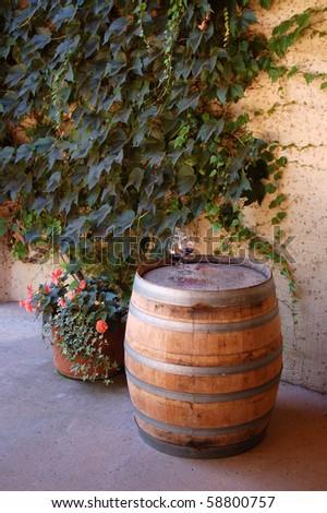 Wine barrel in Napa Valley - stock photo