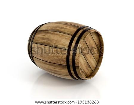 wine barrel isolated on white background. 3d illustration. - stock photo