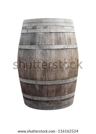 wine barrel on white - stock photo